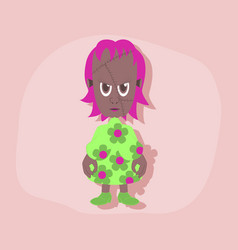 Paper sticker on stylish background zombie woman vector