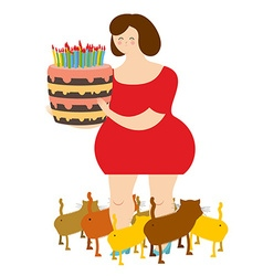 Sad woman of forty and birthday cake Fat lonely vector image
