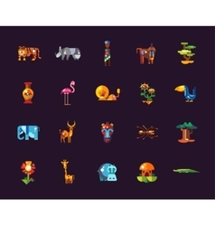 Set of flat design african icons and infographics vector image vector image