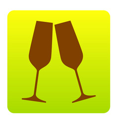 Sparkling champagne glasses brown icon at vector