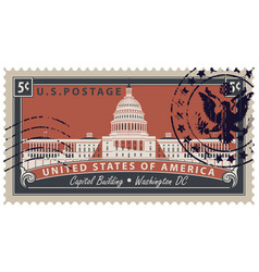 stamp with image of us capitol in washington dc vector image vector image