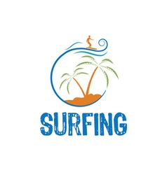 surfing design template vector image vector image