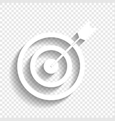 Target with dart white icon with soft vector