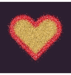 Valentine s day symbol heart red sparkles and vector