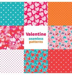 Valentine seamless pattern set vector image vector image