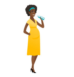 Young african pregnant woman drinking water vector