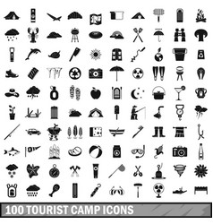100 tourist camp icons set simple style vector image vector image