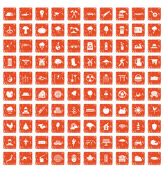 100 tree icons set grunge orange vector