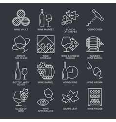 Wine icons set isolated on dark background vector