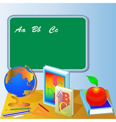 School board with globe book and apple vector