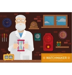 a watchmaker in the workplace with vector image