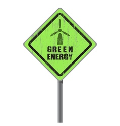 Green energy old scratched street sign vector