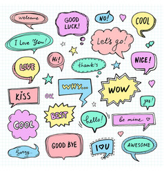 Hand drawn set of speech bubbles with words vector