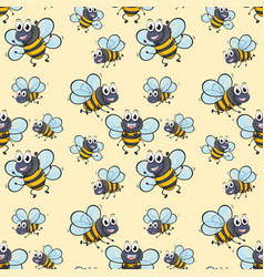 seamless background with bee flying vector image