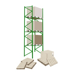 Cargo shelf in a warehouse with shipping box vector