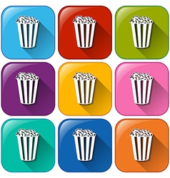 Buttons with popcorns vector