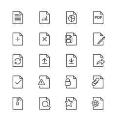 Document thin icons vector