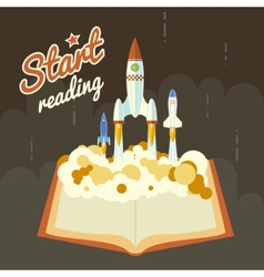 Start Reading Science Fiction Space Poster Concept vector image