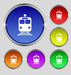 Train icon sign round symbol on bright colourful vector