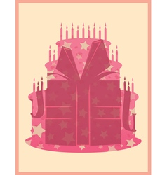 Birthday cake greeting card template vector