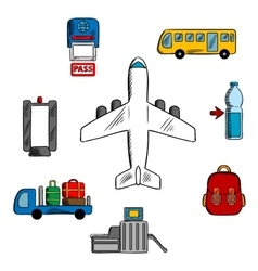 Airport service and aviation icons vector