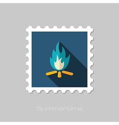 Bonfire flat stamp summer vacation vector