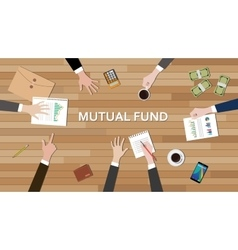 Mutual fund economy business team work together on vector