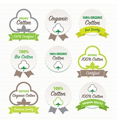 Cotton certificates labels set vector