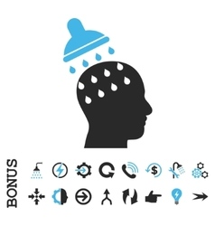 Brain washing flat icon with bonus vector
