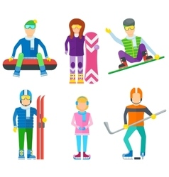 Active leisure people icons set vector image