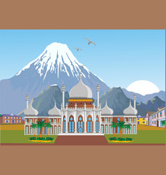 Arabian palace with mountains in the background vector