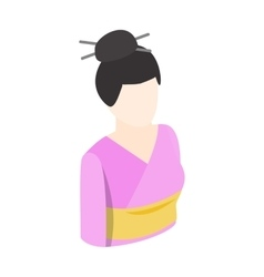 Asian kimono woman icon isometric 3d style vector image vector image