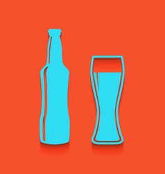 Beer bottle sign whitish icon on brick vector