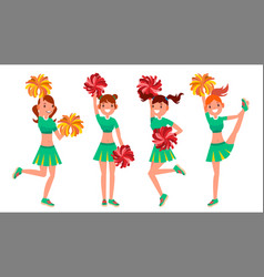 Cheerleader girls in action sport fan vector