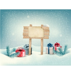 Christmas winter background with presents and vector image