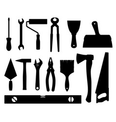 construction tools black silhouettes vector image vector image
