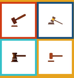 Flat icon hammer set of court justice government vector