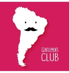 Fun mustache club cartoon South America map vector image