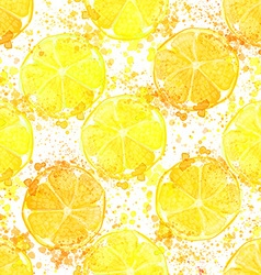 Hand drawn watercolor seamless pattern of lemon vector