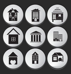 House and Building icon set vector image vector image