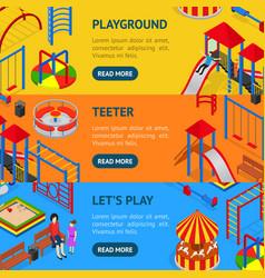 kids playground banner horizontal set isometric vector image vector image