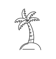 line palm with coconuts and leaves vector image vector image