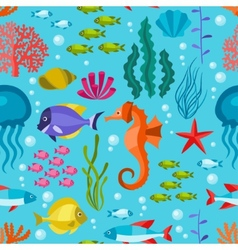Marine life seamless pattern with sea animals vector image
