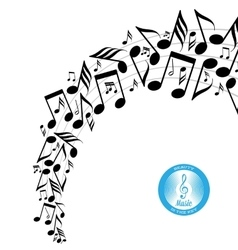Messy scattered music notes on stave vector image vector image