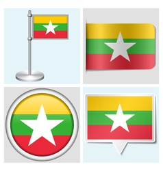Myanmar flag - sticker button label flagstaff vector