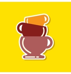 Paper sticker on stylish background coffee three vector