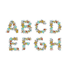 Rubbish font trash abc garbage alphabet letter vector