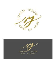 s y handdrawn brush monogram calligraphy logo vector image