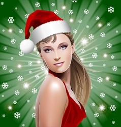 santa girl with santa hat vector image vector image