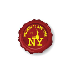 Seal wax with symbol of new york on it vector